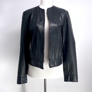 Express Genuine Leather Black Biker Jacket women 8